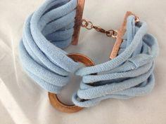 Sky Blue Macrame T-Shirt Yarn & Antique Copper Bracelet. $19.99, via Etsy.