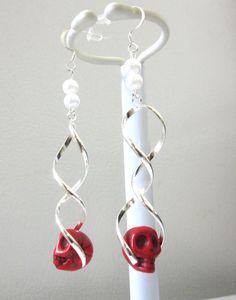 Day Of The Dead Earrings Sugar Skull Jewelry by sweetie2sweetie, $14.99