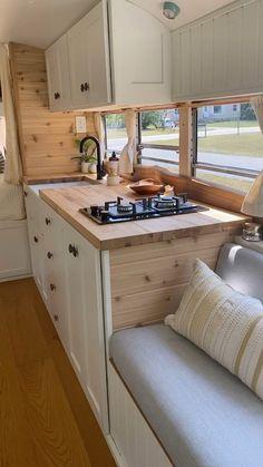 Bus Life, Camper Life, School Bus Camper, Caravan Home, Airstream Remodel, Amazing Spaces, Tiny Living, House Rooms, Fixer Upper