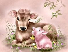 ⊹✿ Cute Drawings by Penny Parker ✿⊹ Animal Paintings, Animal Drawings, Animal Original, Animal Pictures, Cute Pictures, Penny Parker, Baby Animals, Cute Animals, Decoupage