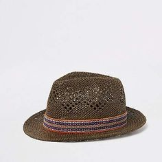 7659522b01b River Island Brown straw trilby hat
