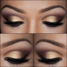 Golden smokey eye make up Gold Eye Makeup, Kiss Makeup, Love Makeup, Makeup Tips, Makeup Looks, Hair Makeup, Makeup Ideas, Black And Gold Eyeshadow, Gorgeous Makeup