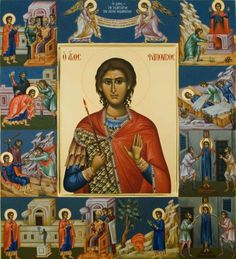 The icon of St. Phanourios is framed by smaller images of the saint enduring torments for the Faith