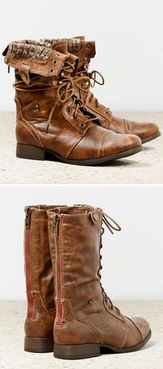 Fold-Over Lace-Up Boots <3