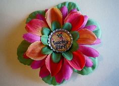 Fabric Flower Bottle Cap Hair Clip St Patrick by SweetieBeads, $8.00