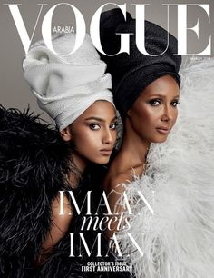 Imaan Hammam and Iman on the cover of Vogue Arabia March 2018