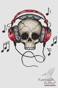 Cross Stitch Skull, Cross Stitch Music, Cross Stitch Embroidery, Cross Stitch Patterns, Cap Ideas, Diy And Crafts Sewing, Diamond Art, C2c, Colorful Drawings