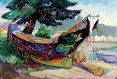 Indian War Canoe, Alert Bay Artwork By Emily Carr Oil Painting & Art Prints On Canvas For Sale Vancouver Art Gallery, Art Gallery Of Ontario, Canadian Painters, Canadian Artists, Emily Carr Paintings, Dulwich Picture Gallery, Kunsthistorisches Museum, Montreal Museums, Art Chinois