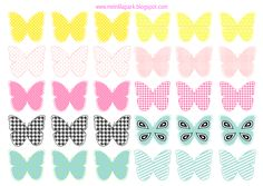 Free printable pastel colored butterflies - Schmetterling Druckvorlagen - freebie | MeinLilaPark – DIY printables and downloads