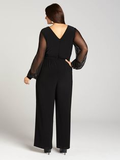 Laura Plus | Sheer Sleeved Wide Leg Jersey Jumpsuit - Jet Black