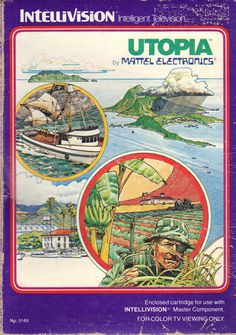 """Box cover for """"Utopia,"""" one of the early sim / strategy video games released by Mattel for the Intellivision system in 1981"""
