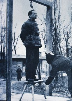 The execution of KL Auschwitz Commandant Rudolf Hoess.