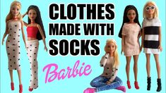 How to make Barbie Clothes with Socks. DIY Dress, Skirt and Sweater How to make Barbie Clothes with Socks. DIY Dress, Skirt and Sweater Barbie Et Ken, Barbie Mode, Barbie Dolls Diy, Barbie Stuff, Doll Stuff, Sewing Barbie Clothes, Barbie Sewing Patterns, Doll Clothes Patterns, Barbie Outfits