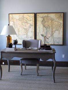 Henry Walker Model Home. Interior Design and Furniture by Alice Lane Home Collection CITY: Heber City, Utah PHOTOGRAPHY: Eliesa Findeis (desk, map artwork, workspace, home office)