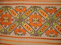 Handmade,embroidered by Todorka Grigogrova. Folk Embroidery, Embroidery Patterns, Knitting Patterns, Cross Stitch Geometric, Cross Stitch Patterns, Costume Patterns, Bargello, Textile Art, Needlework