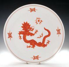 A Red Dragon Meissen Porcelain Plate, C.1920