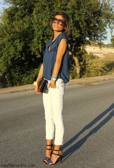 Summer look with white jeans