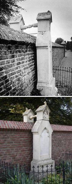 A Roermond, nei Paesi Bassi, vi sono due tombe eccezionali: sono quelle di J.W.C van Gorcum e di sua moglie J.C.P.H van Aefferden. Lui venne sepolto nella parte protestante del cimitero cittadino. La moglie, che era cattolica, sapeva che non avrebbe potuto essere seppellita assieme a lui; stabilì dunque che le sue spoglie fossero inumate il più possibile vicino a quelle del marito – appena al di là del muro che divideva la sezione protestante da quella cattolica.