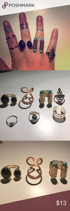 SALE BUNDLE7 Fashion Rings-Multiple retailers Statement Rings: 1. Rose gold Double stacked Size 8- Francesca's 2. Double Stone Black ring Size 8 but adjustable- Tillys 3. Turquoise Stone double sided rings W/ Gold texted thick band Size 8- Francesca's 4. Turquoise and CZ detail on metal frame work Size 7- Macy's 5. 6. 7. Turquoise midi ring and gold thick midi ring all from Francesca's. All worn once or twice, all in very good condition. Jewelry Rings