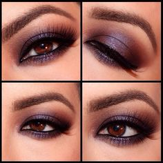 """Soft Smokey Dreamy Eyes by ✨@domloveschris✨. How to get this look⤵️ using the @Sarah Chintomby Long Faced Cosmetics Chocolate Bar Palette. She used """"Milk Chocolate"""" as transition color. """"Cherry cordial"""" inner and outer crease (leaving the center of the lid blank) Then took """"Candied Violet"""" and applied it to the blank lid space. Same concept on bottom. Then added """"White Chocolate"""" to the Browbone. Added a coat of some @Tarte Creative Marketing Creative Marketing cosmetics """"Gifted"""" Amazonian…"""