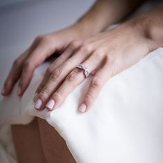 Real Weddings - In Bliss Weddings Laurence's engagement ring is stunning and looks flawless alongside her light, pink nails. Brides can never go wrong with light colored nails on their wedding day. They are timeless and never go out of style! Photo Credit- Sophie Asselin Photography