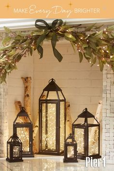 Have you always wanted a fireplace that lights at the touch of a button? Here's Pier easy version! Landen Metal Lanterns filled with Pure Whit. Christmas House Lights, Christmas Lanterns, Christmas Fireplace, Christmas Home, Outdoor Christmas, Winter Christmas, Empty Fireplace Ideas, Candles In Fireplace, Faux Fireplace