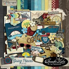 Whether you're going on a family vacation or the trip of a lifetime, Going Places is a gorgeous, vintage inspired, digital scrapbooking kit that is perfect for capturing all of your special travel memories.