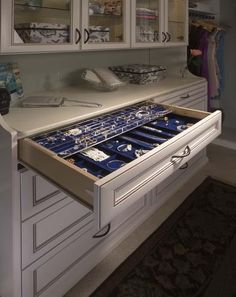 Walk-in closet organization at it's finest. All your beautiful jewelry displayed for easy access in your jewelry drawer. Closet Designs, Master Bedroom Closet, Drawers, Home, Jewellery Storage, Closet Accessories, Closet Storage, Storage, Master Closet
