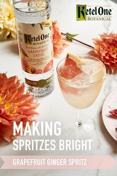 New year, new spritz. Brighten up your winter with a Grapefruit Ginger Spritz from Goop. Party Drinks, Cocktail Drinks, Fun Drinks, Cocktail Recipes, Alcoholic Drinks, Detox Drinks, Healthy Cocktails, Beverages, Happy Hour