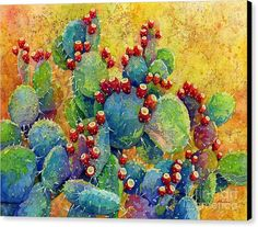 Cactus Canvas Print featuring the painting Desert Gems by Hailey E Herrera