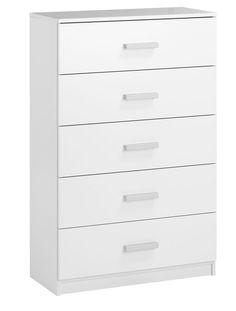 Komoda KABDRUP 5 szuflad szeroka biały | JYSK