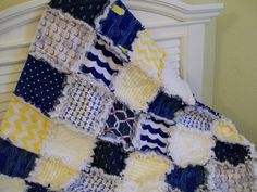 Nautical Rag Quilt Lap or Toddler Size Minky Whales by CottageDome, $159.00