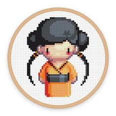 GEISHA GIRL AKIKO a pixel art counted cross stitch by iamnotadoll, $3.50
