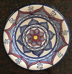 Sandra and Maria Vumbaca, Ceramic artists Banded Floral Plate. Rustic Ceramics, Australian Art, Creative People, Ceramic Artists, Earthenware, Clay Art, Ceramic Pottery, Glaze, Vibrant Colors
