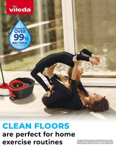 Your floor couldn't be cleaner thanks to the Easy Wring & Clean Turbo Spin Mop! Did you know it removes over 99% bacteria with just water?*  Now you and your little ones can enjoy your home exercise routine in a healthy and clean environment! Home Exercise Routines, At Home Workouts, Spin Mop, Microbiology, Cleaning Products, Be Perfect, Environment, How To Remove, Flooring