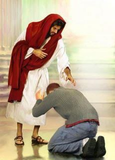 Jesus with man bowing. http://gods411.org/