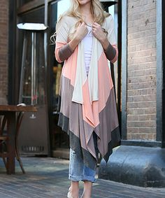 Loving this 42POPS Peach & Taupe Color Block Flowy Open Cardigan on #zulily! #zulilyfinds