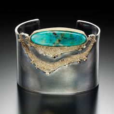 Jenny Reeves Cuff bracelet in Argentium sterling silver and 18K gold, with chrysocolla, black, white, and chocolate diamonds. Fabricated, oxidized. Lovely. Classy and very appealing to the Boho style eye.