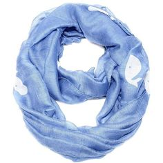 Sky blue whale print infinity scarf ($16) ❤ liked on Polyvore featuring accessories, scarves, infinity loop scarves, rayon scarves, lightweight infinity scarf, sheer scarves and sheer shawl
