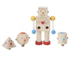 Build-a-Robot by Plan Toys: 4 interchangeable heads. Great for kids, awesome for an office. $34.95 #Robot #Toy #Plan_Toys