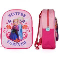 Disney Frozen rugzak 3D sisters forever. Roze Frozen rugzak met 3D opdruk van Elsa en Anna en de tekst sisters forever. formaat is ongeveer 31 x 27 x 10 centimeter.
