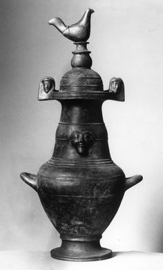 "A distinctive type of Etruscan pottery known as ""bucchero,"" made from the mid-7th century through the 6th century BC, is one of the few types of fine ancient pottery that is unpainted. The ware is recognized by its glossy black finish, resulting from a firing process in which the amount of oxygen in the kiln was minimized (known as reduction). This process makes the pottery black all the way through, unlike Greek works with a black surface."