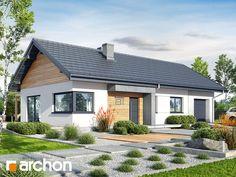 Dom w mekintoszach 9 (G) Cute House, House 2, Roof Overhang, Facade House, Home Projects, Bungalow, House Plans, Floor Plans, Farmhouse