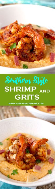 These Shrimp and Grits have the perfect balance of flavors. Bold and Spiced Cajun Shrimp on a bed of creamy and cheesy grits. Finished with a drizzle of the most delicious, rich and buttery sauce! via @lmnblossoms