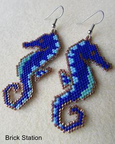 Caballitos de mar azul, aretes