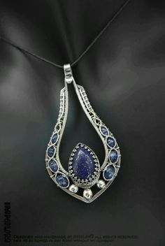 wire wrapped lapis pendant