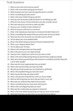 Good Truths To Ask, Truth And Dare Questions, Good Truth Or Dares, Best Friend Questions, Questions To Get To Know Someone, Fun Questions To Ask, Deep Questions, Getting To Know Someone, Things To Do At A Sleepover