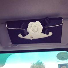 Car Sun Visor Organizer Tissue Holder with Camellia - Carsoda - 1