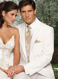 Best White Single Breasted Button Lapel Worsted Groom Wedding Tuxedo - Groom Wear - Wedding