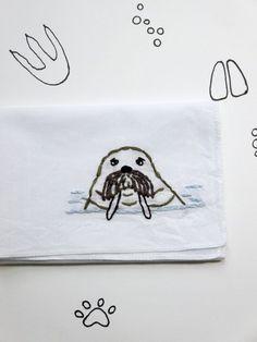 Animal Walrus Embroidered Handkerchief by wrenbirdarts    Marine Life Gift, Ocean Animals, Gift under $50, Modern Hankie